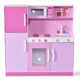 wood kitchen playsets hickory cabinets costway kids toy cooking pretend play set toddler wooden playset gift new 3