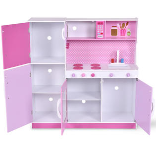 kids wooden kitchen cabinets pulls costway wood toy cooking pretend play set toddler playset gift new 4