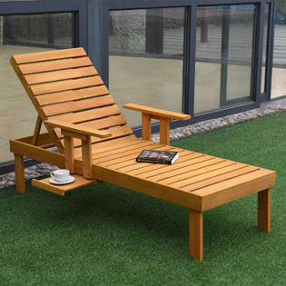 lounge outdoor chairs wingback accent chair blue chaise patio sears goplus sun lounger garden side tray deck beach wood