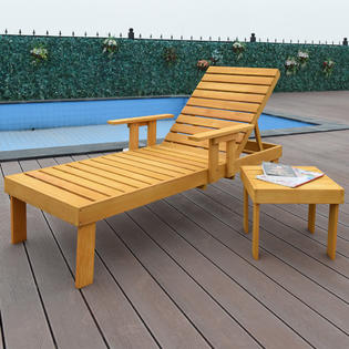 canvas beach chair computer cheap wood and chairs goplus patio chaise sun lounger bench side tray table set