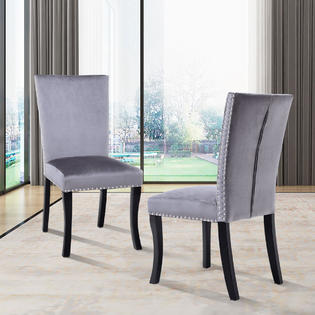 nailhead upholstered dining chair blue dot chairs goplus set of 2 padded seat armless solid wood legs