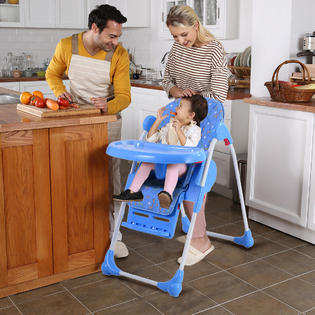 infant feeding chair country french side chairs high booster seats kmart goplus adjustable baby toddler seat folding blue