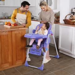 Booster Seat High Chair Bamboo Directors Chairs Australia Seats Sears Goplus Adjustable Baby Infant Toddler Feeding Folding Purple