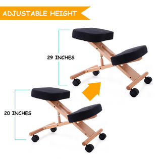 ergonomic chair knee rest office on wood floor goplus kneeling wooden adjustable mobile padded seat and new 4