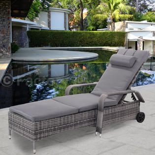poolside lounge chairs acrylic south africa chaise patio sears goplus outdoor chair recliner cushioned furni adjustable w wheels