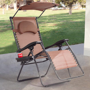 chair with shade canopy small upholstered swivel club folding goplus recliner zero gravity lounge w cup holder brown