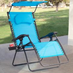 Folding Chair With Umbrella Round Covers Holder Goplus Recliner Zero Gravity Lounge W Shade Canopy Cup Blue
