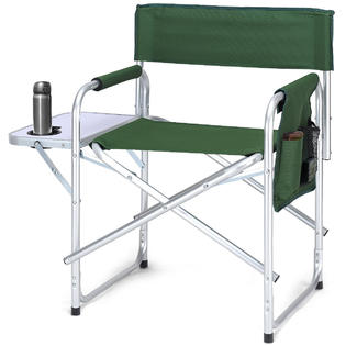 camping chairs with side table pedicure chair accessories rocky camp goplus folding director s outdoor fishing w cup holder green