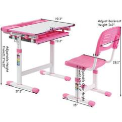 Adjustable Desk Chairs Wholesale And Tables Goplus Height Children S Chair Set Multifunctional Study Drawing Pink