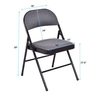 folding fabric chairs electric massage costway set of 4 upholstered padded seat metal frame home office 2