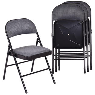 folding chair with cushion rail design metal costway set of 4 chairs fabric upholstered padded seat frame home office