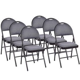folding chair fabric z covers uk costway set of 6 chairs upholstered padded seat metal frame home office