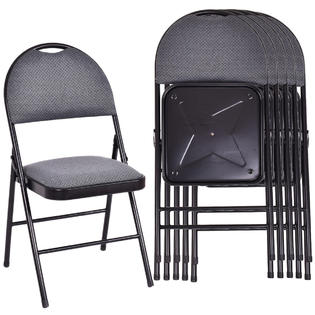 folding chair with cushion hideaway table and chairs metal costway set of 6 fabric upholstered padded seat frame home office