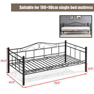 metal frame sofa bed white covers online india goplus twin size daybed solid support guest dorm home furniture