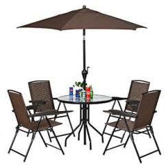 Folding Chair With Umbrella Plastic Adirondack Chairs Canada Holder Goplus 6pcs Patio Garden Furniture Set 4 Round Table Crank Tilt