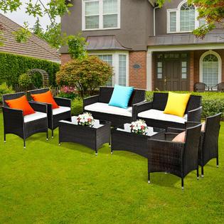 pcs patio garden rattan furniture set