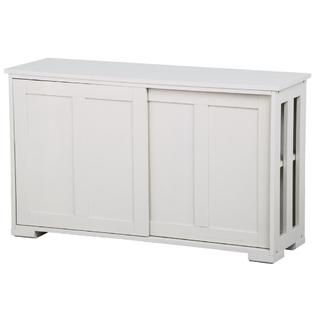 kitchen buffet storage cabinet french country lighting yaheetech antique white stackable sideboard with sliding door dining room furniture
