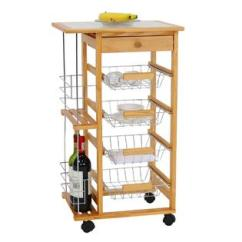 Kitchen Cart With Drawers Table Sizes Carts Island Sears Kinbor Wooden Work Station Trolley Utility W And Casters