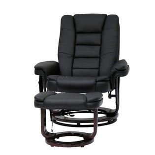 massage chair with heat pedestal office kinbor black pu leather recliner ottoman w control 8