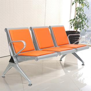 orange chair salon bar table and chairs set kinbor 3 seats leather sponge airport reception waiting room garden barber bank hospital bench