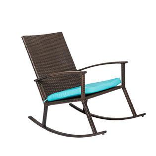 rattan wicker rocking chair cushion teak patio chairs reoc003bn kinbor handmade pe rocker armchair all weather outdoor seat w furniture