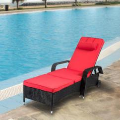 Summer Chaise Lounge Chairs Stokke High Chair Reviews Reoc006rd Kinbor Outdoor Wicker All Weather Pe Rattan Adjustable Pool