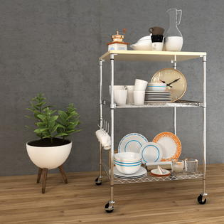 kitchen microwave cart slide out organizers cabinets wondershopping shelving wire pull 3 shelf adjustable