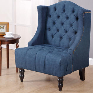 sears accent chairs office chair cover gymax modern tall wingback tufted armchair fabric vintage nailhead navy