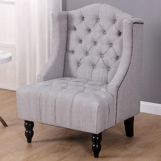 sears accent chairs zero gravity leather chair canada gymax sofa tufted tall wingback vintage fabric home furniture nailhead armchair gray