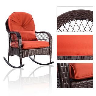 rattan wicker rocking chair cushion wedding covers preston gymax gys00140 patio porch deck rocker outdoor furniture w new