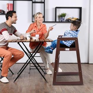 infant feeding chair iron price gymax baby high wooden stool children toddler restaurant brown
