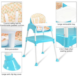 padded high chair leather gymax 3 in 1 baby convertible table seat booster toddler feeding highchair blue