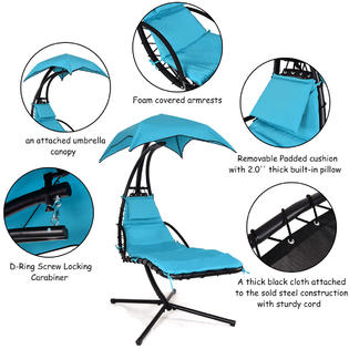 hammock chair with canopy crushed velvet bedroom gymax gys00377 hanging chaise lounger arc stand porch swing w blue new