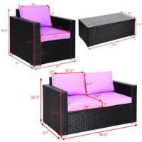 Gymax gys00440 4PC Rattan Patio Furniture Set Outdoor ...