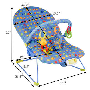 baby chair rocker dining room chairs set of 4 gymax adjustable bouncer swing reclining w soothing music box toys new