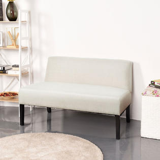 living room settee benches with brown leather furniture decorating ideas gymax armless loveseat sofa fabric bench bed chair wooden leg