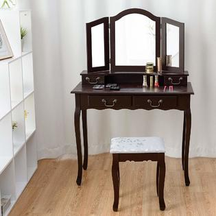 bedroom chair table set folding high gymax vanity with stool chic makeup tri dressing mirror organizer cushioned wooden legs