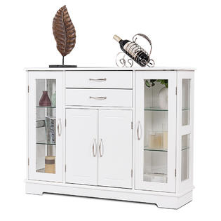 kitchen buffet nija hutches buffets kmart gymax storage cabinet console cupboard w glass door drawers dining room