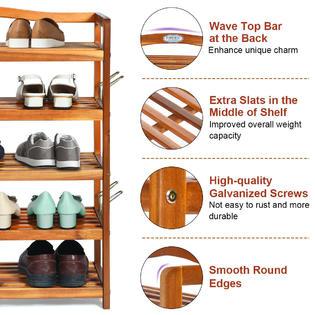 generic 5 tier wood shoe rack