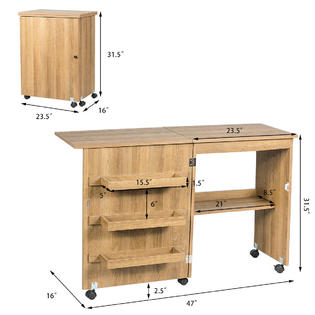 Gymax Folding Sewing Craft Table Shelf Storage Cabinet Home Furniture W Wheels Natural