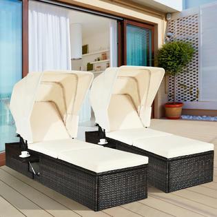 gymax gys04072 2pcs patio rattan lounge