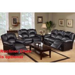 Espresso Bonded Leather Reclining Sofa Loveseat Set Corner Deep Seats Living Room Sets   Furniture - Sears