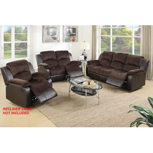 suede living room furniture pictures of rooms with brown leather sofas esofastore 2pc recliner sofa set motion and loveseat chocolate padded faux family