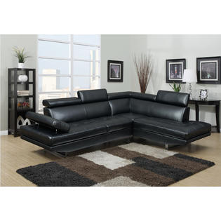 cheap black leather sectional sofas making sofa seat covers couches kmart esofastore living room modern stylish bonded chaise adjustable headrest metal leg furniture