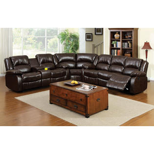 cushion sofa set adele foa sectional bonded leather match rustic brown color plush loveseat console recliner corner living room