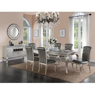 tufted dining room chairs adirondack wood esofastore antique formal traditional silver finish 7pcs set rd table plush side attractive