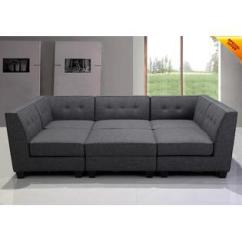 Sectional Sofa Couch Online Set Purchase In India Sofas Couches Sleeper Sears Hs New Modular Gray Fabric Tufted Back Welted Cushion Living Room 6 Pcs