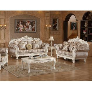 traditional sofa sets living room polder replica sofas loveseats on sale formal sears esofastore loveseat pearl white finish cushioned plush antique 2pcs set