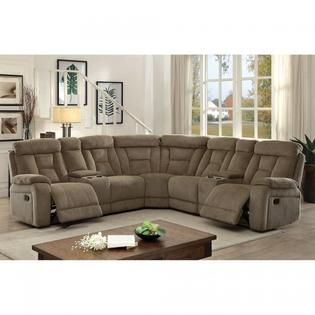 large plush sectional sofa back pain after sleeping on sofas couches sleeper sears furniture of america living room reclining family mocha chenille couch console cushion fun