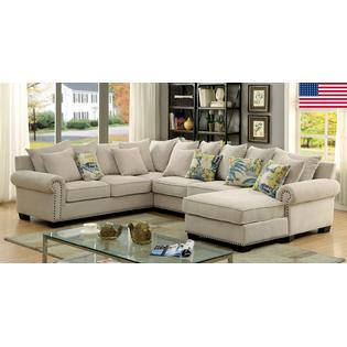 american furniture living room sectionals design online of america skyler sectional sofa chaise ivory padded chenille fabric beautiful rolled arms gorgeous pillows made in usa